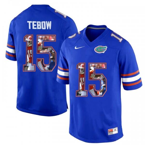 S-3XL Football Tim Tebow Florida Gators #15 Royal Blue Printing ...
