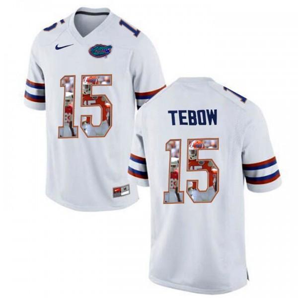 Florida Gators #15 Tim Tebow White Printing Portrait Premier ...
